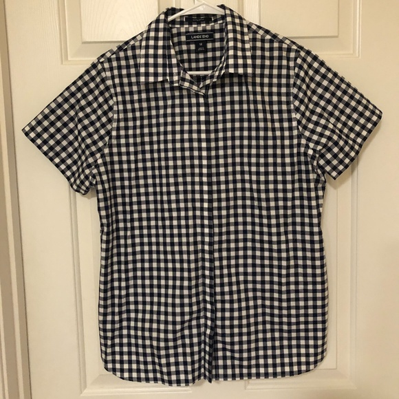 *2/$20* Land's End Checkered Button Down Blouse
